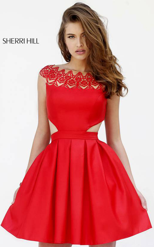 75e8a6e6c91 Be luxurious and modern in Sherri Hill 9756. This cocktail dress offers a  bateau neckline. Appliques trim the neckline over sheer fabric.