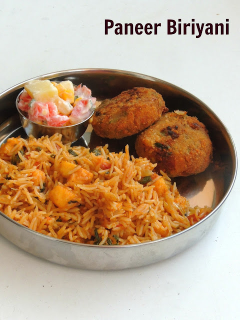 Paneer Biriyani, Indian cheese Paneer Biryani