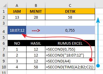 Contoh Fungsi/Rumus SECOND Excel