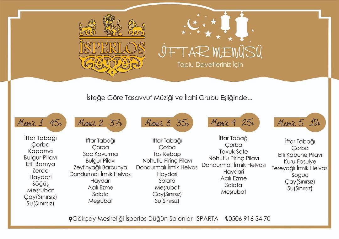 isperlos düğün salonları ısparta iftar menüleri