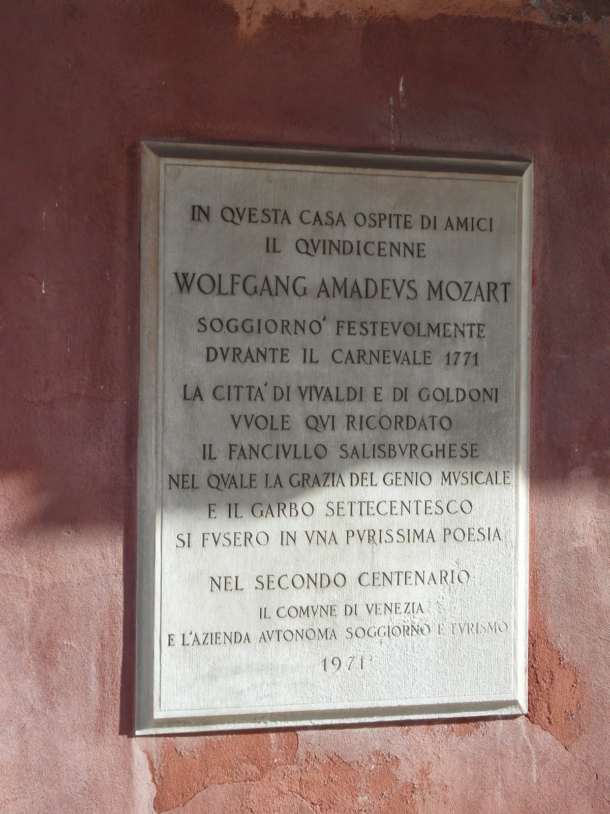Plaque to Mozart, Venice