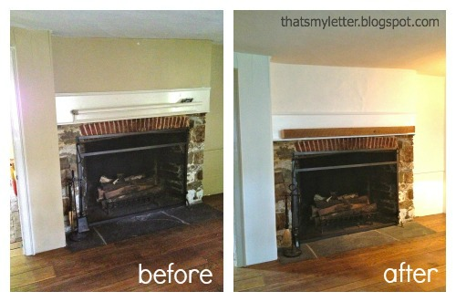primitive farmhouse mantel before and after