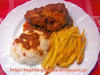 Κοτόπουλο κοκκινιστό με πατάτες τηγανιτές και ρύζι - από «Τα φαγητά της γιαγιάς»