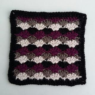 Crochet Shell stitch square مربع غرزة الصدفه كروشيه