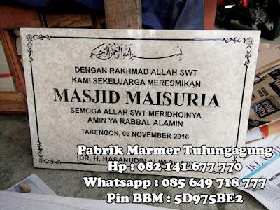 Ukuran Prasasti Peresmian , Contoh Prasasti Peresmian Masjid