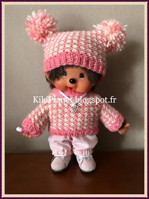 Pull bicolore rose/blanc fait main, pour kiki ou Monchhichi, tricot, vêtements poupée jouet vintage knitting handmade