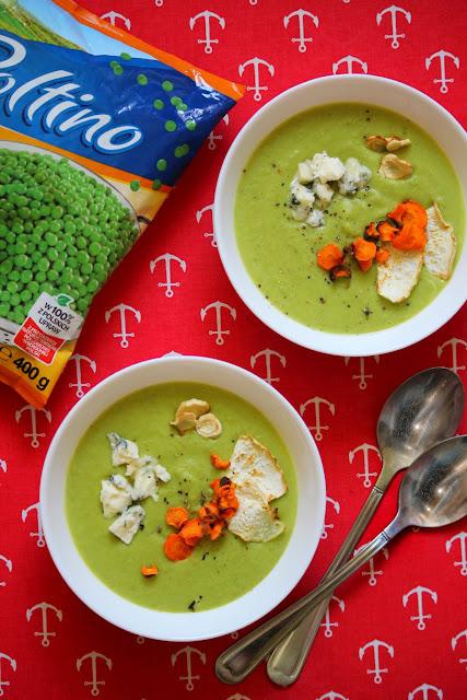 zupa, mrożony groszek
