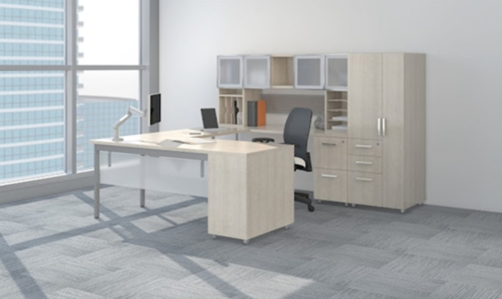 Mayline e5 Executive U Desk Typical