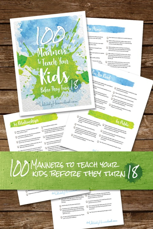 100 Manners to Teach Your Kids Before They Turn 18 printable pack