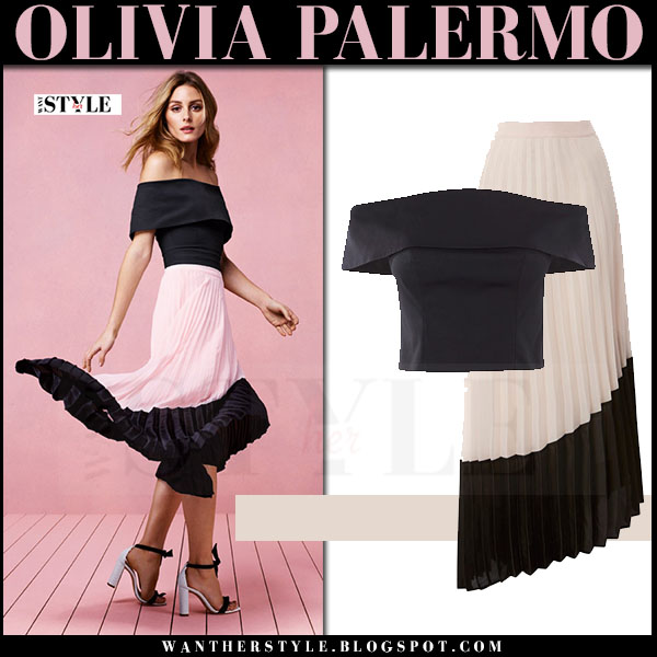 Olivia Palermo in black off shoulder top and pink pleated skirt coast what she wore spring 2017 campaign