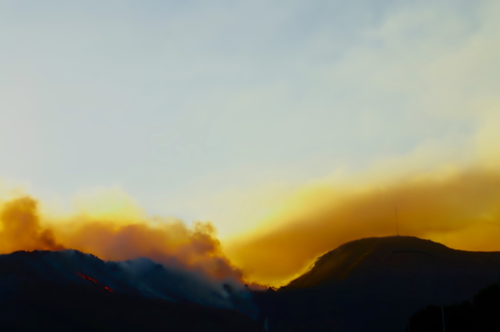 Fire and smoke on mountains