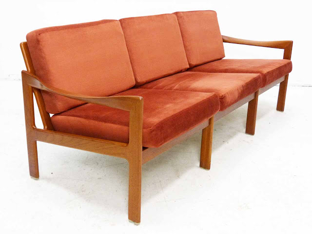 Teak Three-Seater Sofa by Illum Wikkelso Danish Modern Front Angle