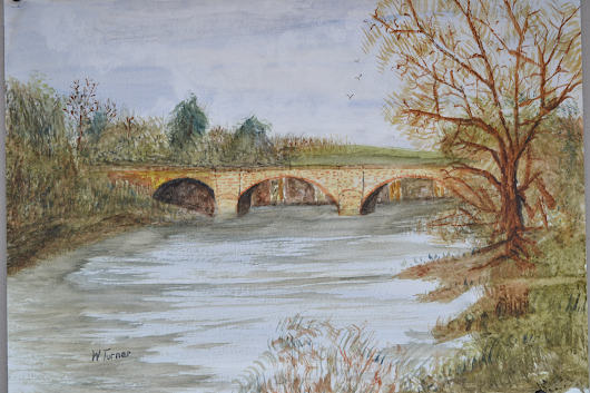 "watercolour from a photo I took earlier this year at the Crook of Lune bridge, a favorite picnic spot.Watercolour on 15"" x 11"" Fabriano watercolour paper 2016"