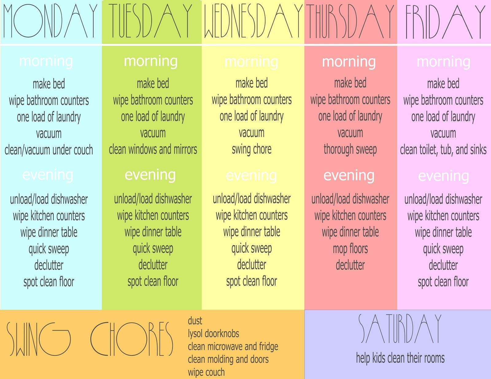 Cutie Pie Jones Blog Weekly Chore Sheet