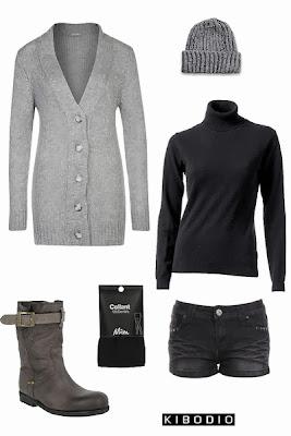 Look femme automne hiver en noir et gris