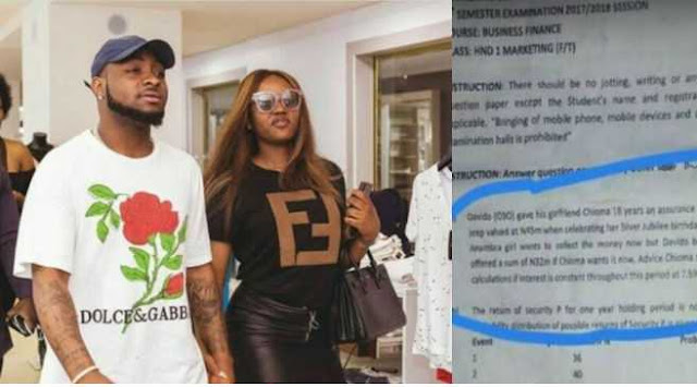 Davido and Chioma's love story featured in Yabatech's Department of Marketing exam question