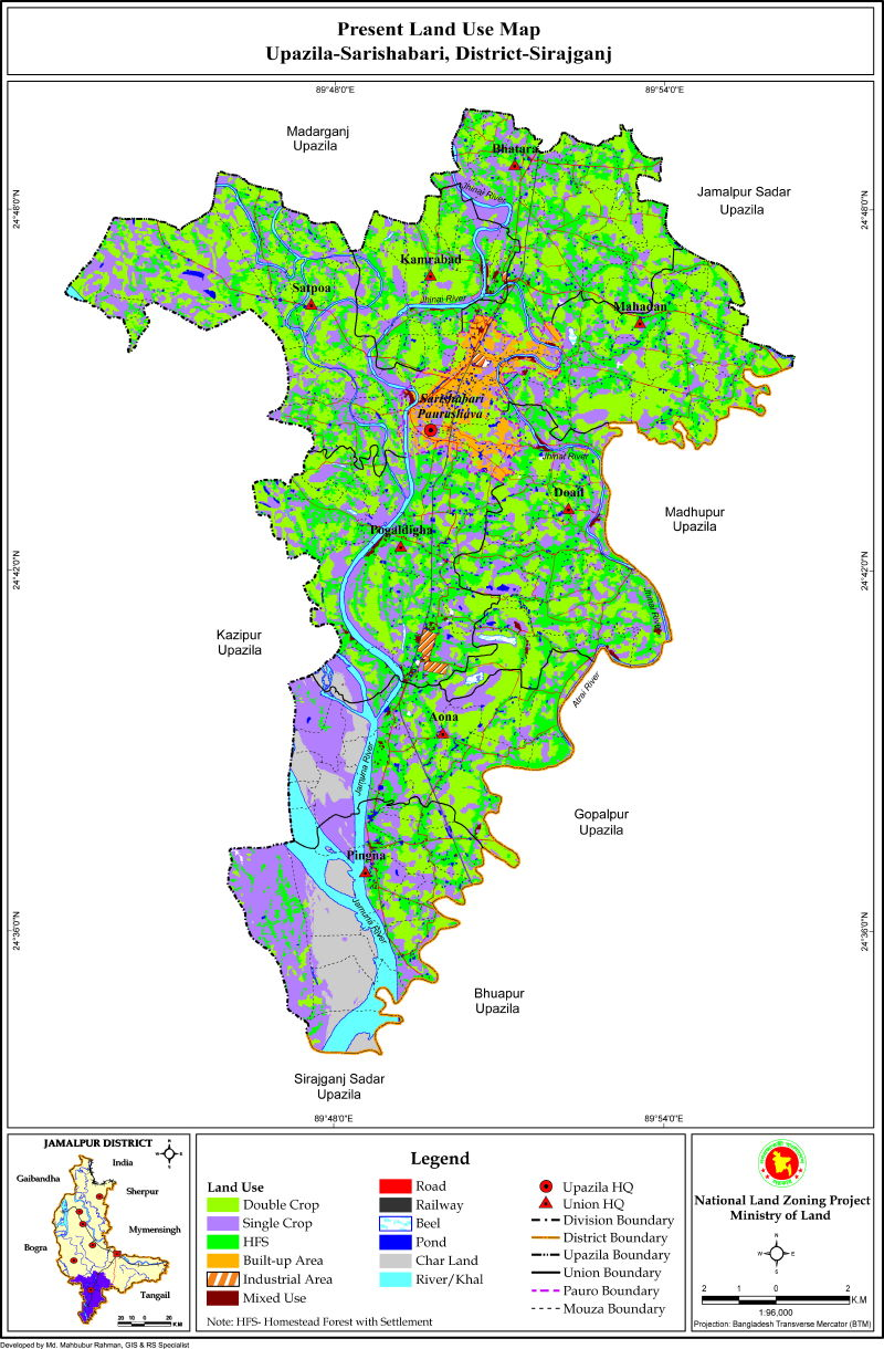 Sarishabari Upazila Mouza Map Jamalpur District Bangladesh