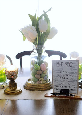 How to set Easter Table using repurposed metal findings and Easter Menu display