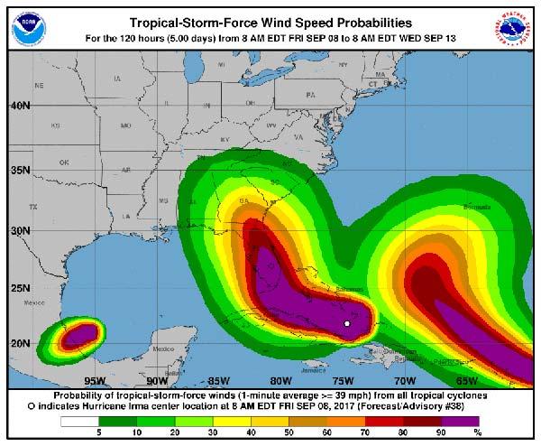 Una imagen de los huracanes Irma, José y Katia en el Atlántico que, por lo menos, asusta