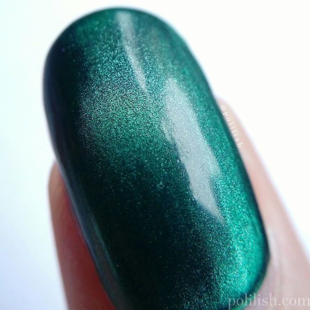 Macro close-up of Masura 'Cat's Eye' magnetic nail polish