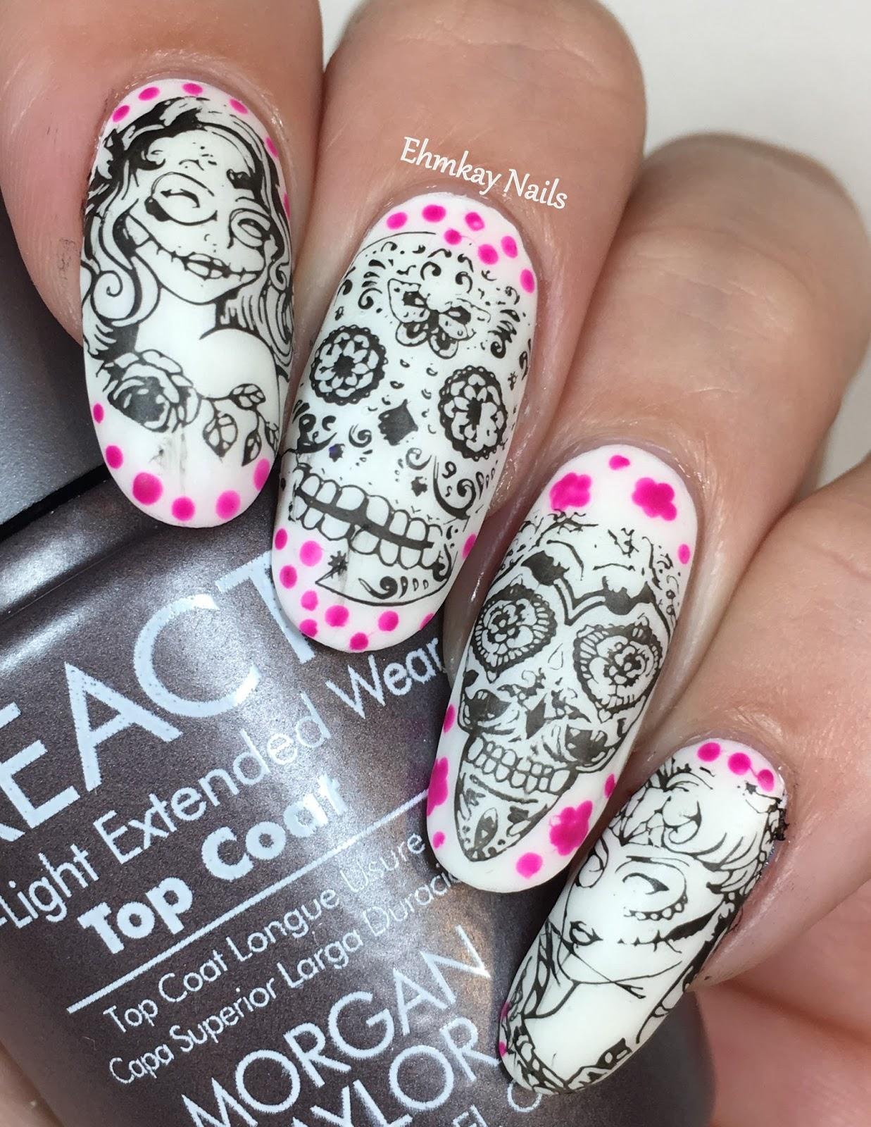 Ehmkay nails halloween nail art glow in the dark sugar skull halloween nail art glow in the dark sugar skull nail art with morgan taylor dia de los muertos prinsesfo Gallery