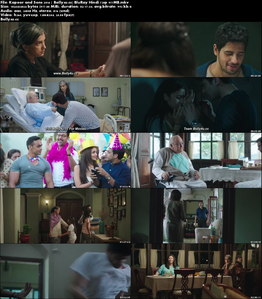 Kapoor and Sons 2016 BluRay 950MB Full Hindi Movie Download 720p