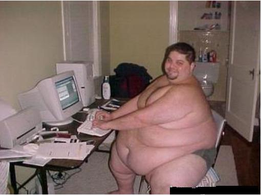 Fat Naked Guy At Computer 77