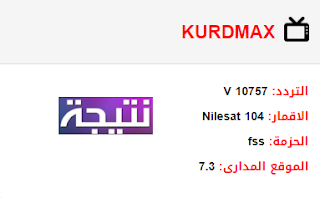 تردد قناة كورد ماكس KURDMAX الجديد 2018 على النايل سات