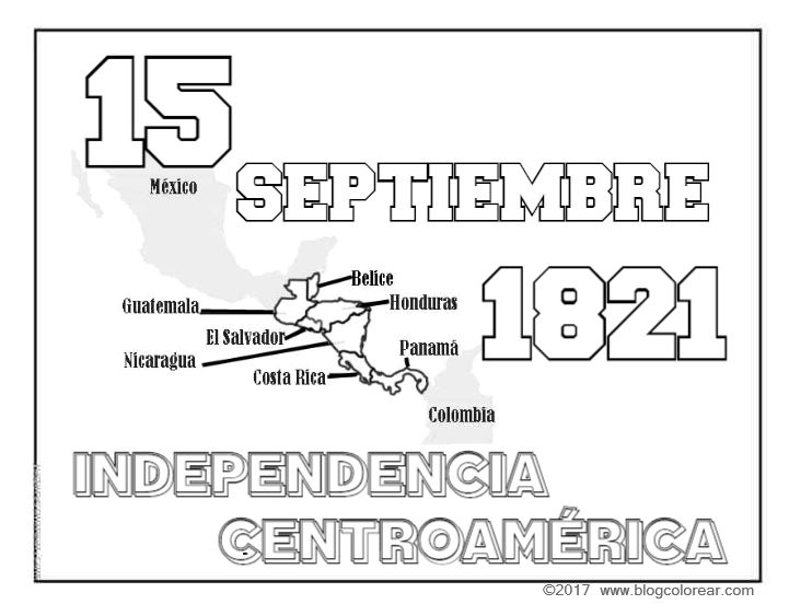 Colorear Independencia Centroamérica 15 De Septiembre