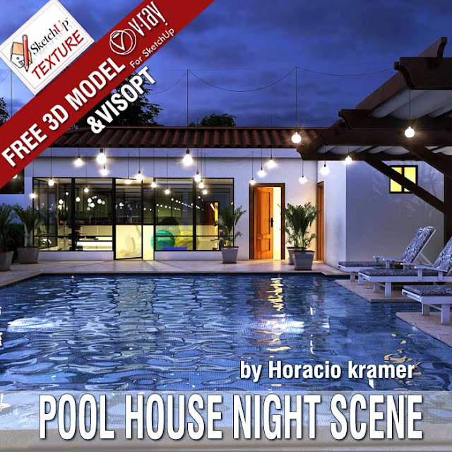 Free SketchUp 3D model Pool House & vray Visopt