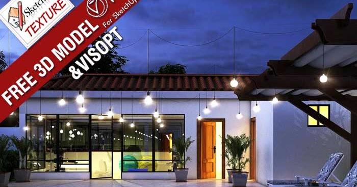 Exterior: SKETCHUP TEXTURE: Free SketchUp 3D Model Pool House Night
