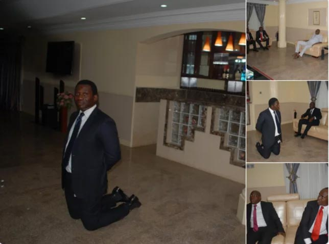 Nigerians make memes of Zenith Bank officials kneeling for Fayose