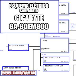 Esquema Elétrico Placa mãe Gigabyte GA-8GEM800 Motherboard Manual de Serviço  Service Manual schematic Diagram Gigabyte GA - 8GEM800 Motherboard    Esquematico Gigabyte GA-8GEM800 Motherboard