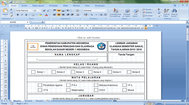 Download Lembar Jawaban Ulangan Semester SD MI Format Microsoft Excel