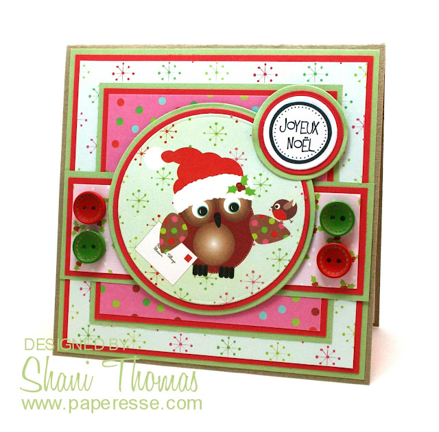 Christmas card featuring Papermania Festive Frolics topper and paper, by Paperesse.