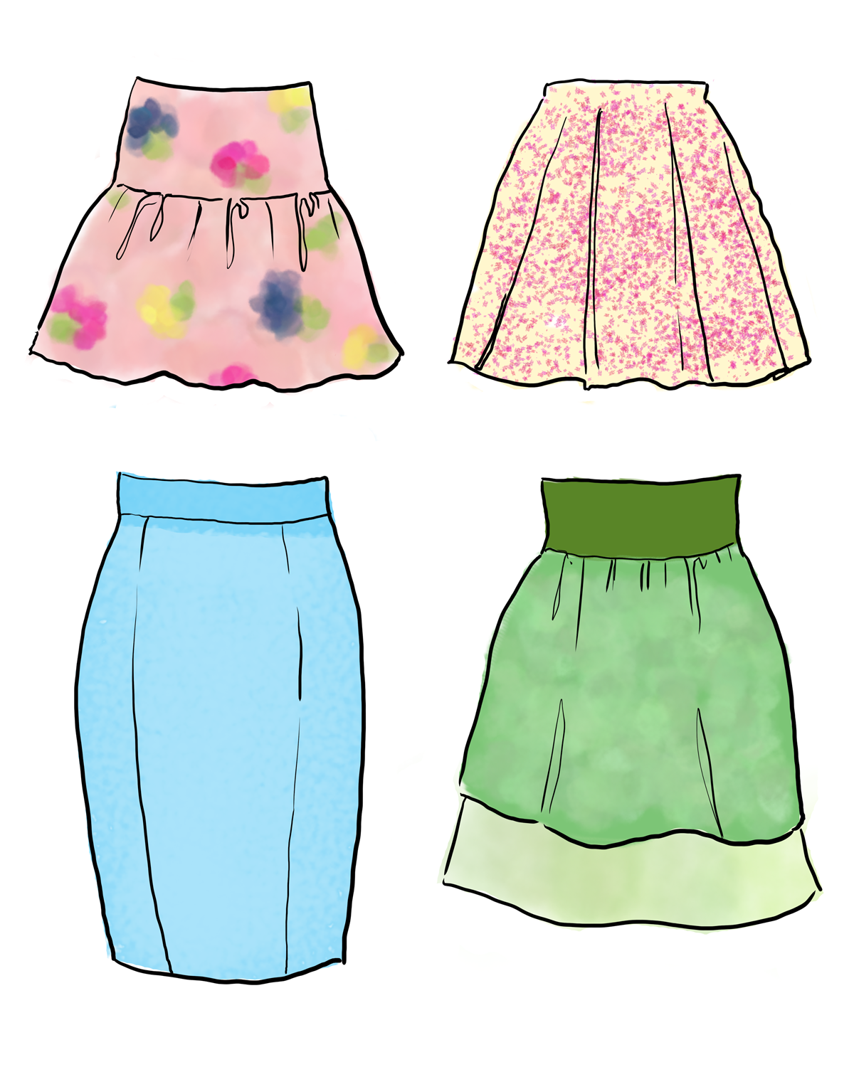 How To Draw Fashion Spring Fashion Skirts