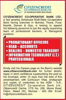 Citizen Credit Bank Recruitment 2020 Officer, Head, Dealer, IT Professionals
