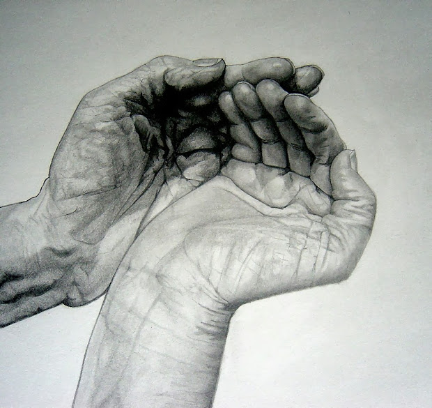 Cupped Hands Pencil Drawing
