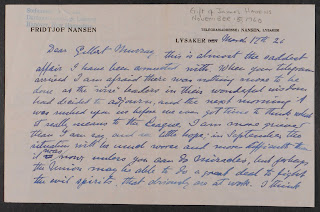 Nansen letter to Gilbert Murray, March 1926