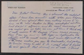 Nansen letter to Gilbert Murray, March 1926