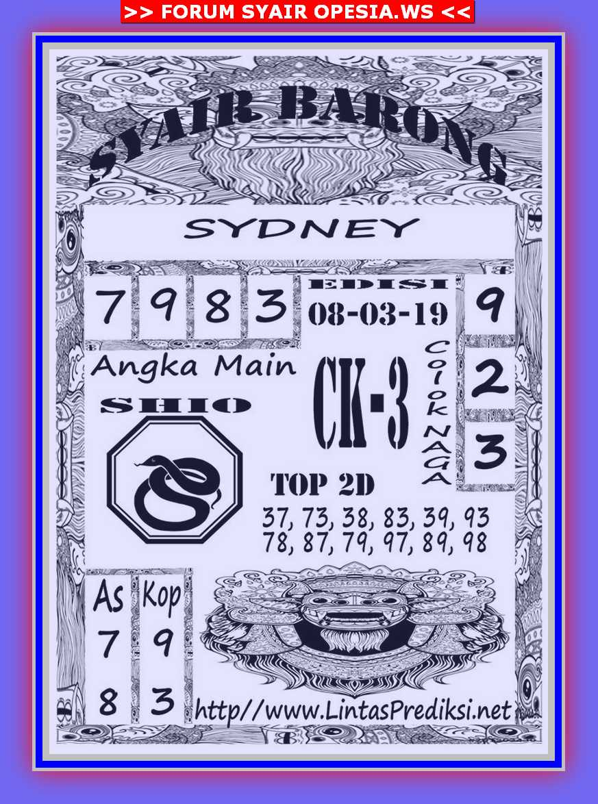 Kode syair Sydney Jumat 8 November 2019 9