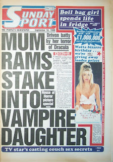 Front page of a vintage Sunday Sport newspaper from 18th September 1988
