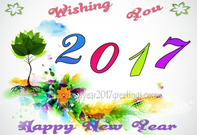 (Happy} New Year 2017 Colorful Greetings Cards