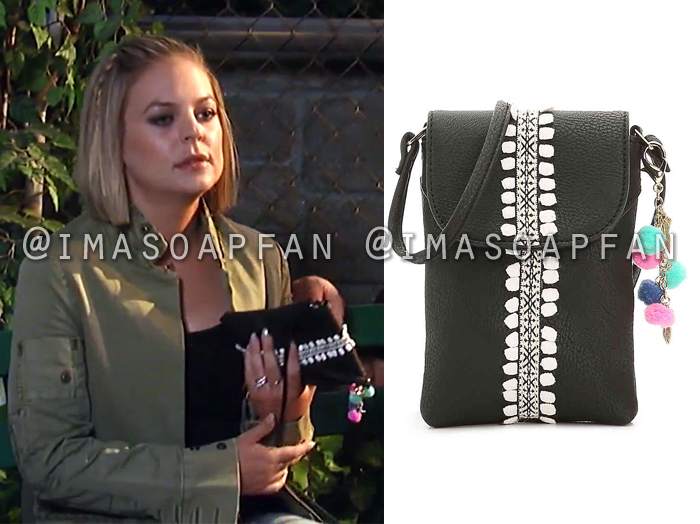 Maxie Jones, Kirsten Storms, Black and White Embroidered Crossbody Purse, General Hospital, GH