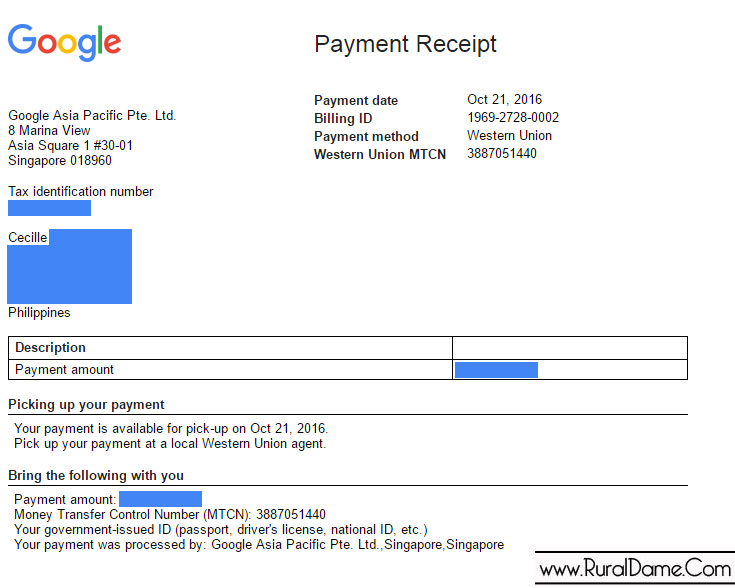 Google Adsense: My First Ever Payout - Rural Dame