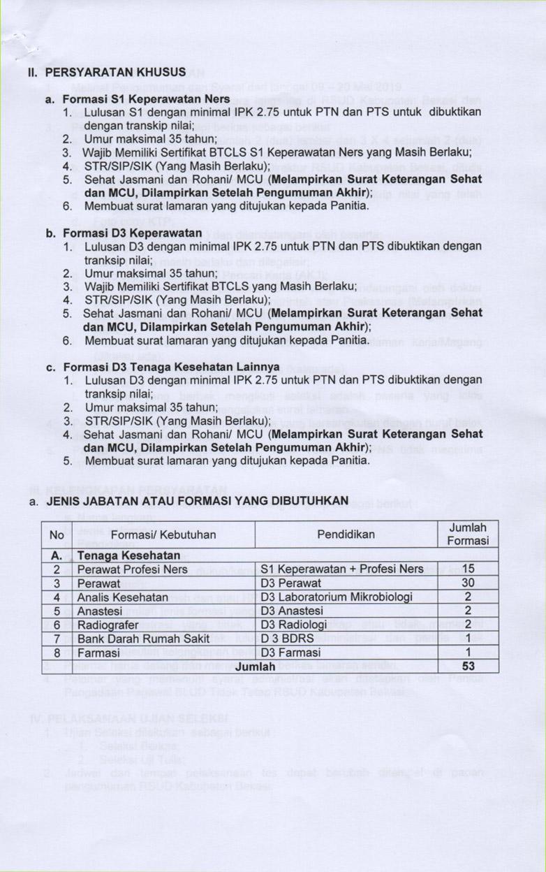 Lowongan Kerja Terbaru Rsud Kabupaten Bekasi Deadline 20 Mei