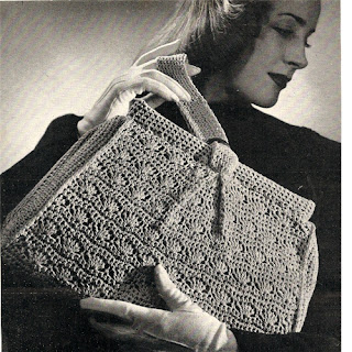 Crocheted Shell Handbag Pattern, Vintage 1950s