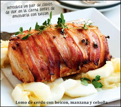 Lomo de cerdo con beicon, manzana y cebolla
