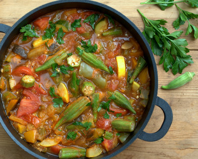 Armenian Vegetable Stew, another seasonal stew ♥ AVeggieVenture. Late-summer and early-fall vegetables, eggplant, peppers, summer squash, tomatoes, okra. Weight Watchers Friendly. Low Cal. Low Carb. Gluten Free. Paleo. Vegan. Best Soup September 2014.