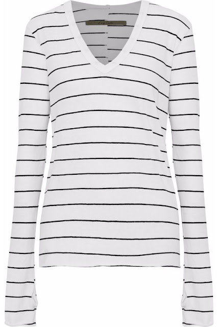 enzo costa striped melange cotton and cashmere blend top